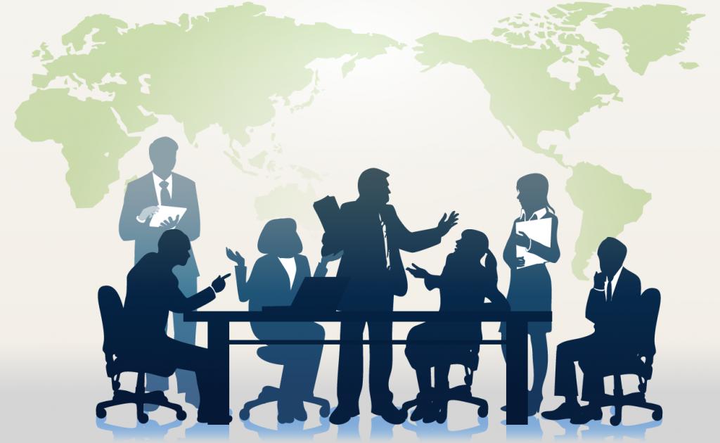 世界地図と会議